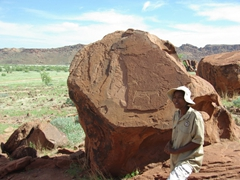 Our guide pointing out 6000 year old petroglyphs at Twyfelfontein