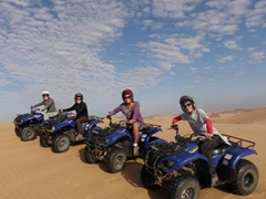 Fi, Naomi, Becky and Lisa enjoying a great day quad biking the sand dunes of Swakopmund