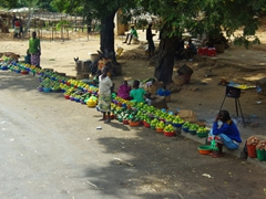 Green oranges for sale by the bowlful, side of the road