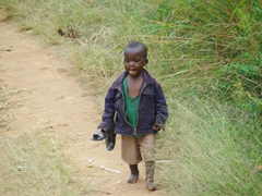 A young boy strolls over to see what the fuss is all about