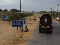 """A goodbye """"Boa Viagem"""" signpost bids us farewell as we leave this Mozambique town"""