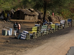Massive bags of charcoal for sale by the road side