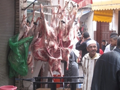 Freshly slaughtered sheep for sale the day after Eid-al-Adha (the festival of sacrifice); Casablanca souq