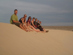 Robby, Lucky, Bree, Ruth, Becky, MJ, and Tim; western Sahara sand dune