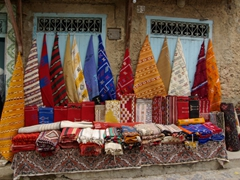 Colorful kilim style carpets for sale; Chefchaouen