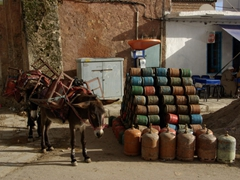 Donkeys are ideal beasts of burden to carry heavy objects through a medina's narrow streets; Chefchaouen