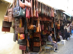 Leatherwork for sale; Fes medina