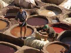 Morning view of the leather tannery, Fes medina