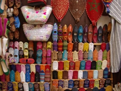 Leather slippers are a popular Moroccan gift (the yellow ones are the most sought after color)