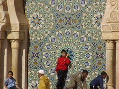 Beautiful tile work on a fountain; Hassan II Mosque