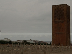 Rabat's most famous landmark, the 44 meter tall Hassan Tower (construction started in 1195)