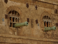 Canons peaking through the medina walls; Rabat