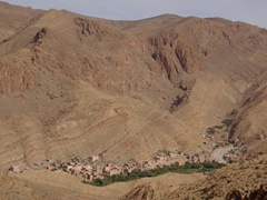 Berber villages nestled in the valley of Todra Gorge