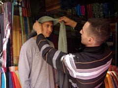 Luke models a turban in the Marrakesh souq