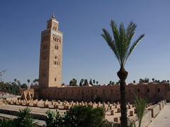 The Koutoubia Mosque dominates the skyline of Marrakesh