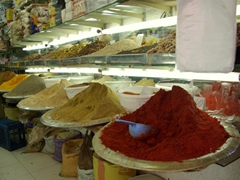 Colorful spices in the Marrakesh medina