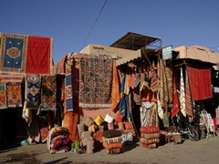 Tourists have an unlimited selection of beautiful carpets and other assorted souvenirs to haggle over in Marrakesh