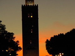 Evening view of Koutoubia Mosque's minaret
