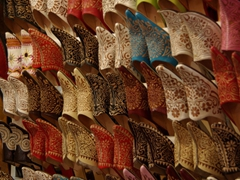 Fancy leather slippers make unique Moroccan souvenirs; Marrakesh
