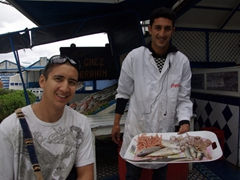 Luke smiles enthusiastically at Essaouira's best seafood bargain (a wide choice is available at the outdoor fish grills lining the port end of Plaza Moulay Hassan)