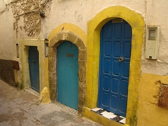 Yellow framed blue doors in Essaouira