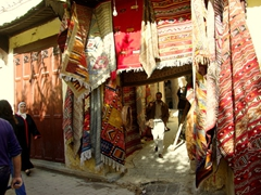 Colorful kilims; Fes medina