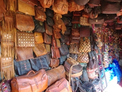 Beautiful leatherwork for sale; Fes medina