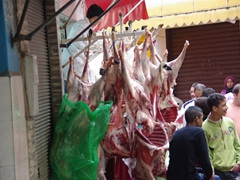 Hunks of sheep carcasses for sale; Casablanca