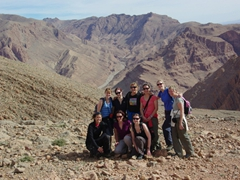 Becky, Ruth, Kendra, Bree, Nancy, Marie, Sara, MJ and Pam atop Todra Gorge