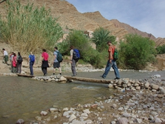 Crossing over a stream; Todra Gorge
