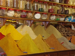 Colorful spices can be easily found in the souq in Marrakesh
