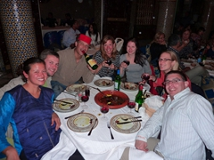 Becky, Robby, George, Nancy, Marie, MJ and Dowelly; Fes dinner