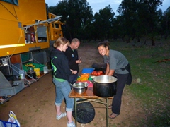 Cook group duty at our bush camp