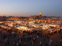Dusk view of Djamaa El Fna square; Marrakesh