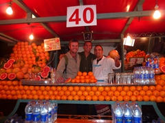 Robby and Luke posing next to our favorite OJ vendor; Djamaa El Fna square