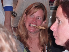 Nancy enjoying her kebab; Marrakesh