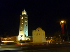 Night view of the 70 meter tall minaret of Marrakesh's Koutoubia Mosque