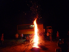 A bonfire dare (get the flames to be higher than our truck!); bush camp near Essaouira