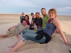 Group photo on a sand dune; western Sahara