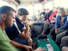 Card games are a great way to make long drive days a bit more bearable; drive through western Sahara