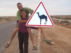 "Posing beside one of many ""caution, camel"" signposts; western Sahara"