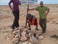 Family photo at the Tropic of Cancer; western Sahara