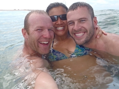 Lucky, Becky and Robby enjoying the sea; western Sahara