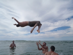 Matt gets some serious air time while doing a back flip off of Lucky; western Sahara