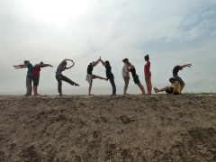 """Spelling out """"TRANS"""" with our bodies; Diawling National Park"""