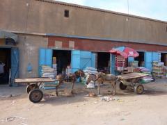 Donkey cart parking lot; Nouadhibou gran marche