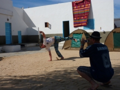 Lucky snapping a shot of Hoff in the courtyard of our Nouadhibou campground, Baie du Levrier Camping