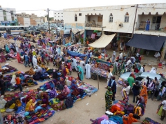 View of the hustle and bustle of Nouakchott's clothing market