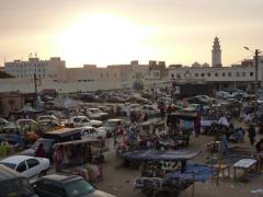 Sunset over Nouakchott's market district