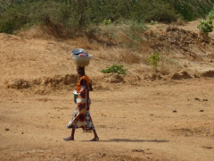 A young girl balances washing supplies on her way to the watering hole